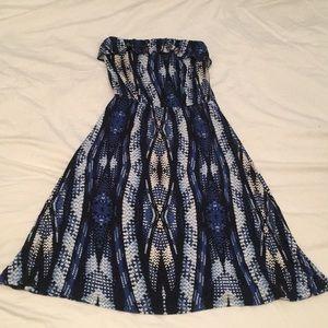Gap blue patterned strapless dress size XS